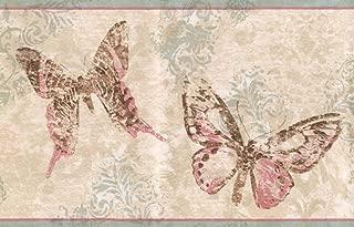 York Wallcoverings Abstract Rose Pink Brown Butterflies Beige Wallpaper Border Retro Design, Roll 15' x 7