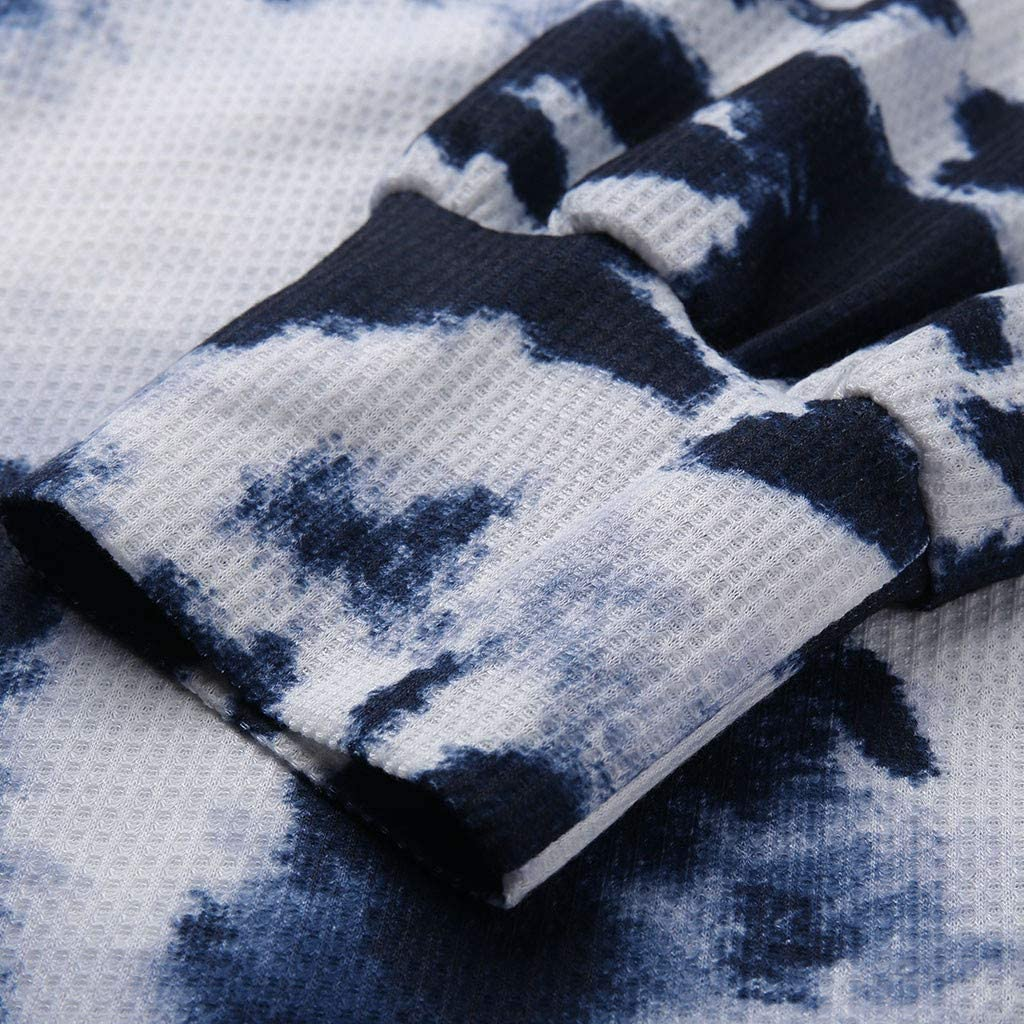 Forwelly Women Tie-Dye O-Neck Gradient Contrast Color Long Sleeve Off Shoulder Top Pullover Sweatshirt