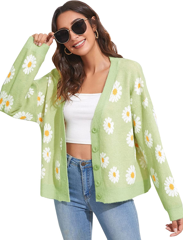 MakeMeChic Women's Floral Print Button Front Drop Shoulder Long Sleeve Cardigan Coat