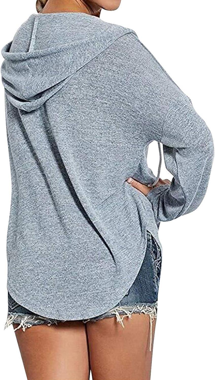 BBYES Womens Long Sleeve Sexy V Neck Drawstring Sweatshirt Hoodies Pullover Tops