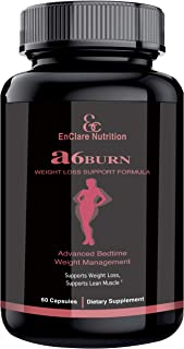 ENCLARE A6BURN ADVANCED BEDTIME WEIGHT LOSS SUPPLEMENT, Night Time Diet Pills, Burn Belly Fat, Lose Weight, PM Fat Burner, Sleep Aid, Appetite Suppressant, Supports Lean Muscle, Athletic Performance