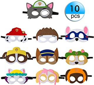 10 Pack Puppy Party Masks for Kids Party Cosplay Felt with Elastic Rope Party Favors Mask for Boys and Girls Birthday Party Supplies(Multicolor)