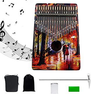 17Keys Thumb Piano, Portable Kalimbas with EVA Professional Waterproof Kalimba Bag, for Kids and Adults (with or Without Built-in Pickup),Mahoganybodyh