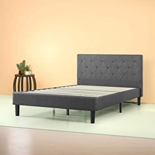 Zinus Shalini Upholstered Diamond Stitched Platform Bed in Dark Grey, Full