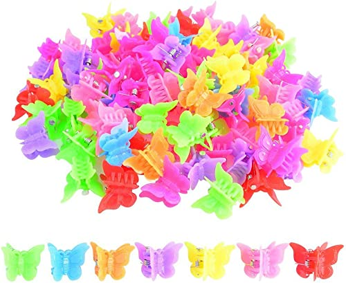 100 Packs Assorted Color Butterfly Hair Clips, Bantoye Girls Beautiful Mini Butterfly Hair Clips Hair Accessories for...