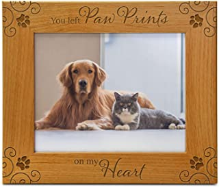 Cedar Crate Market You Left Paw Prints On My Heart, Pet Memorial Picture Frame Engraved Natural Wood Fits a 5x7 Horizontal...