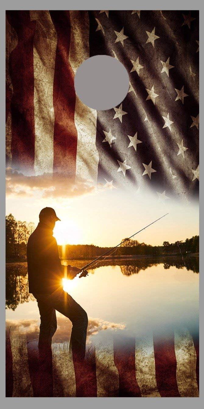 Lets Print Big Aged American Now on sale Flag Design Cor Boat SALENEW very popular B Fishing Lake