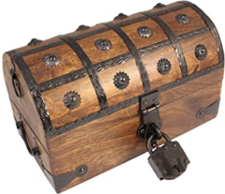 Well Pack Box Large Medium Pirate Treasure Chest Box with Lock and Key