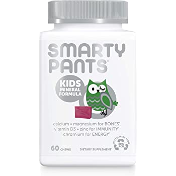 SmartyPants Kids Mineral Daily Gummy Multivitamin: Vitamin C, D3 & Zinc for Immunity, Gluten Free, Vitamin E, Calcium for Bones, Magnesium Citrate for Muscle Function, 60 Count (30 Day Supply)