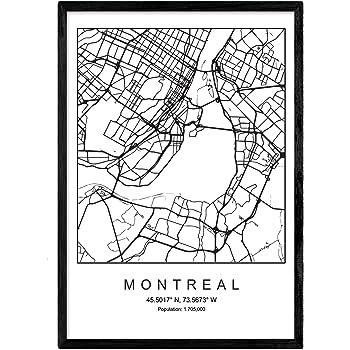 Nacnic Lámina Mapa de la Ciudad Montreal Estilo nordico en Blanco ...