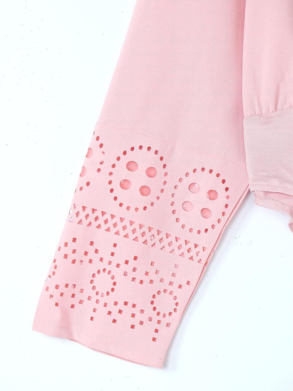 Freebily Womens Plus Size One Piece Shirt Bodysuit Long Sleeves Office Casual Wear Blouse Tops