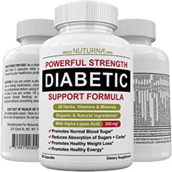 Diabetic Support Formula - 28 Vitamins Minerals Herbs with 300 mg Alpha Lipoic Acid for Blood Sugar Support & Extra Energy Support - Diabetes Nutritional Supplement for Men & Women