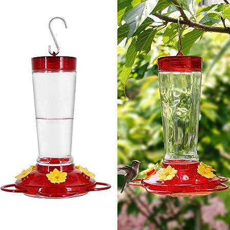 Joliyoou Hummingbird Feeder, 10 Once Glass Hummingbird Feeder Outdoor Hanging, Bird Nectar Feeder (Red & Yellow)