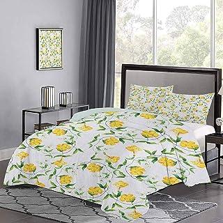 Yoyon Colchas Colcha Romántico Tema botánico Flores de Enredadera Diseño lamentable en Acuarelas Funda nórdica de Primavera Muy Suave y Liso Amarillo Jade Verde