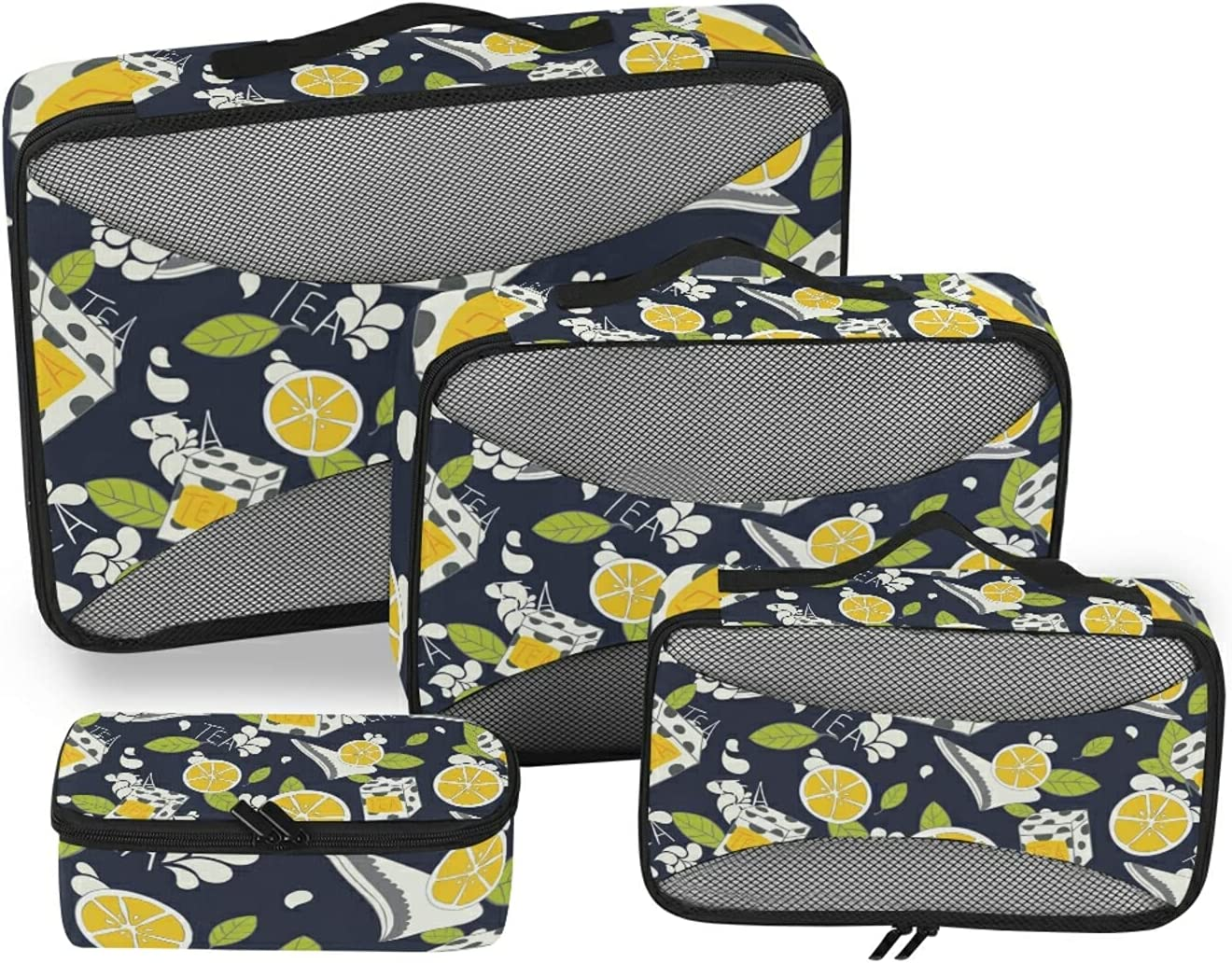 Tea Lemon Max 82% OFF Pattern Packing Storage Recommended Bag Organizer Acc Travel 4-Pcs