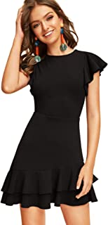 Women's V Back Inslace Layered Ruffle Hem Flutter Sleeve Dress