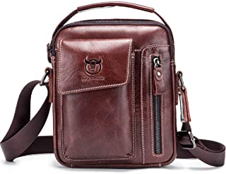 Chest Bag Men Genuine Leather Chest Bag, BULLCAPTAIN Crossbody Shoulder Bag Sling Bags Backpack Messenger Bag Daypack For Business Casual Sport Hiking Travel Dark Brown