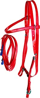 PRORIDER Horse Bridle Biothane Browband Headstall Tack Reins Red 40HS73RD