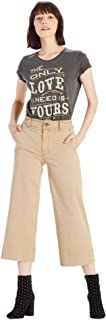 Lucky Brand Women's Wide Leg Cotton Blend Cropped Capri Pants Beige (US: 12)