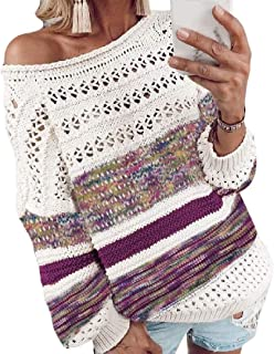 Womens Loose Round Neck Pullover Long Sleeve Knitted Warm Hollow Out Outwears Sweaters