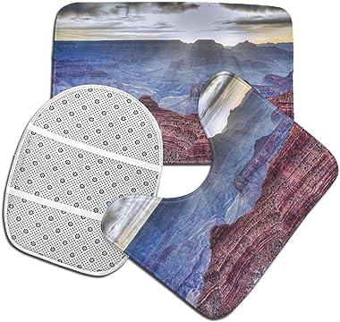 Alfombra De Baño Antideslizante Juego De Alfombras De Baño De Franela De 3 Piezas Alfombra De Baño Del Gran Cañón+Cubierta De