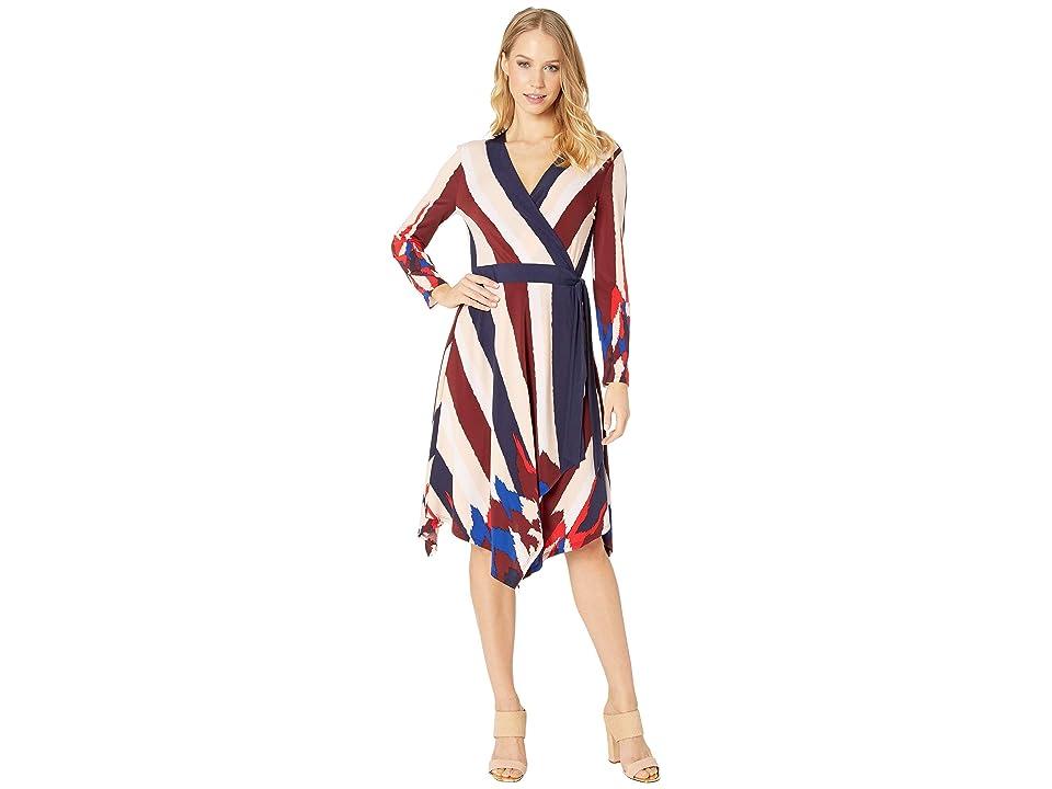 BCBGMAXAZRIA Isabella Asymmetric Wrap Dress (Cabernet Multi) Women