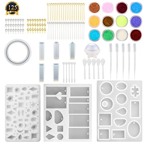 SUBANG 10 Pack Jewelry Casting Molds Silicone Resin Jewelry Molds with 48 Screw Eye Pins,