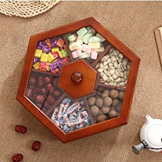 Yjdr Sectional Tray for Dry Fruits Nuts Snacks with Lid, Humidity Proof Wooden Storage, Candy Box, Box with Lid Sealed Sol...