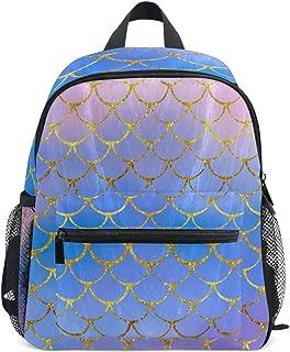 Mini Girls Backpacks Purple Mermaid Scales Kids Preschool Bookbags College Bag
