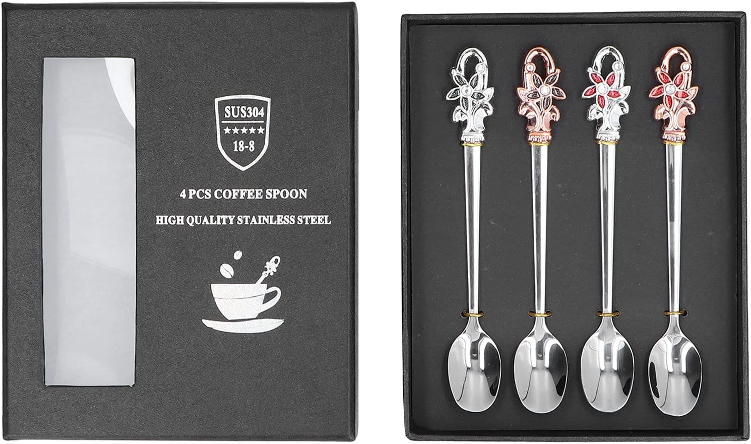 RUIRUIY Flower Shape Handle Limited time trial price OFFicial shop Spoon Steel Gi with Stainless