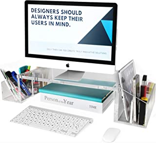 IMLIB Acrylic Monitor Stand Riser for Desk Countertop, Clear Acrylic Desktop Organizer with Side Compartments and Cable Ma...