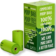 UNNI 100% Compostable Dog Poop Bags, Extra Thick Pet Waste Bags, 120 Count, 8 Refill Rolls, 9x13 Inches, Earth Friendly Highest ASTM D6400, Europe OK Compost Home and Seedling Certified, San Francisco
