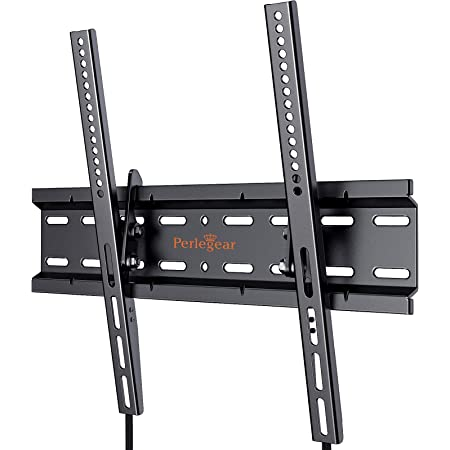 Perlegear TV Wall Bracket for 26-55 inch TVs, Tilt, Sturdy Strong Flat TV Wall Mount, 52kg Weight Capacity, Max VESA 400x400mm with Pull Strings