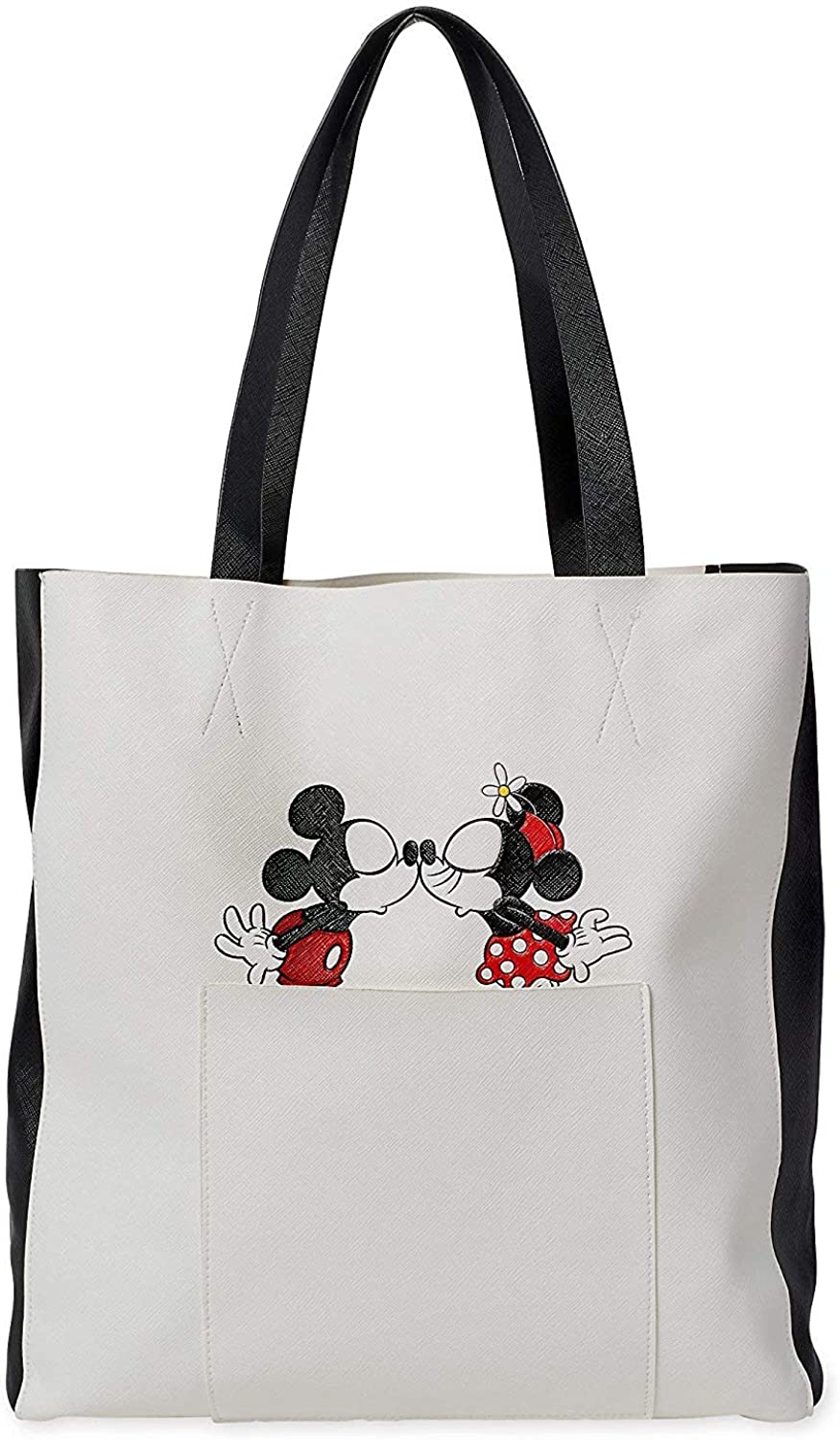 Disney Mickey and Minnie Mouse Faux Leather Tote Bag for Adults White.