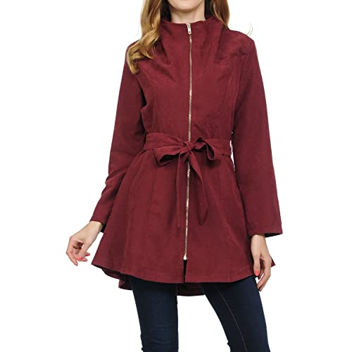 dd4f6ebbf2 Auliné Collection Womens Peach Skin Asymmetrical Belted Lightweight Anorak  Jacket