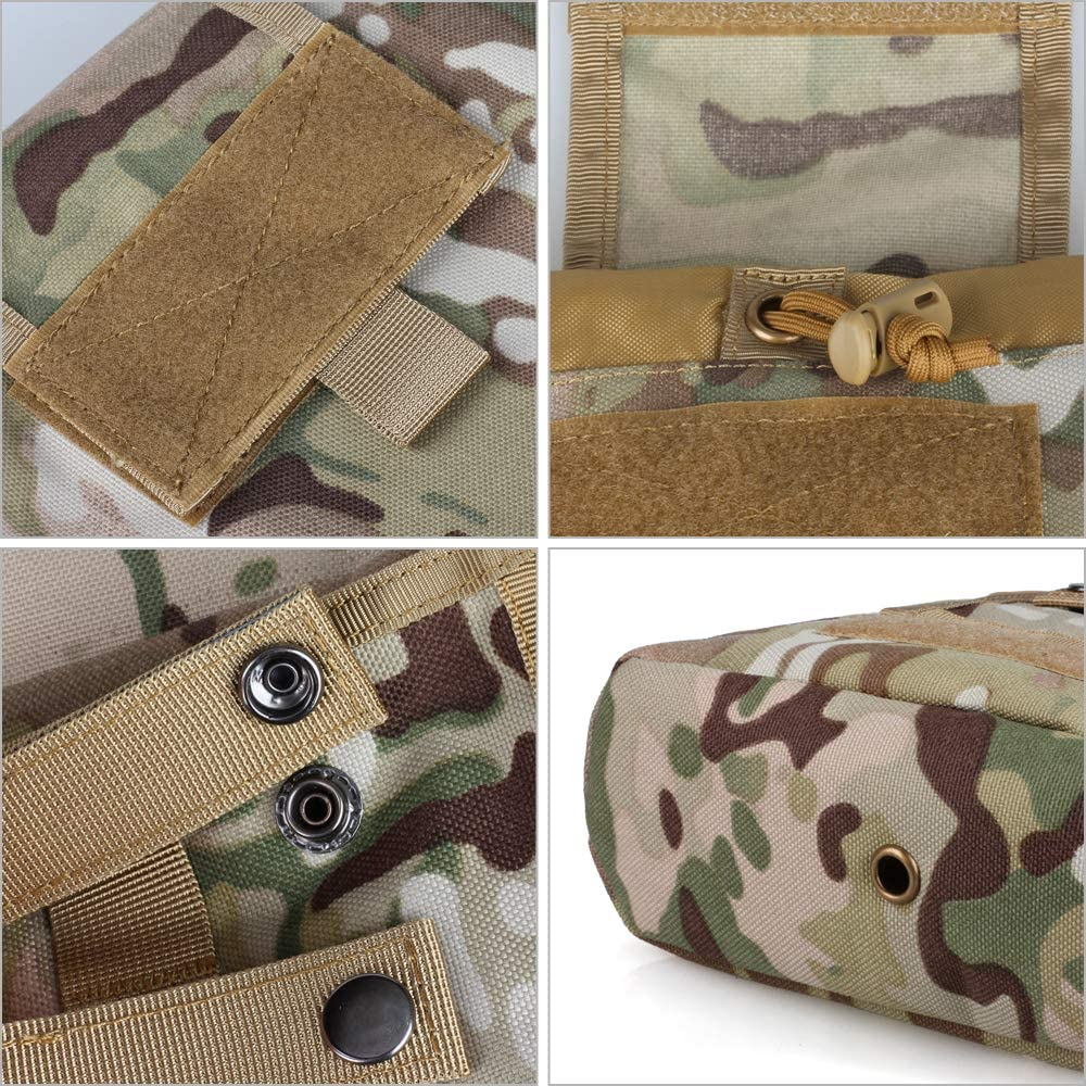 WYNEX Molle Dump Pouch Tactical Mag Dump Pouch Foldable Magazine Recovery Pouches Roll-Up Magazine Garbage Bag Drawstring Included U.S.A Flag Patch
