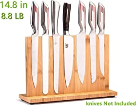 Magnetic Knife Block(Natural Bamboo),Knife Holder,Knife Organizer Block,Knife Dock,Cutlery Display Stand and Storage Rack,Kitchen Scissor Holder,Large Capacity,Double Side Strongly Magnetic 14.8 inch Bamboo