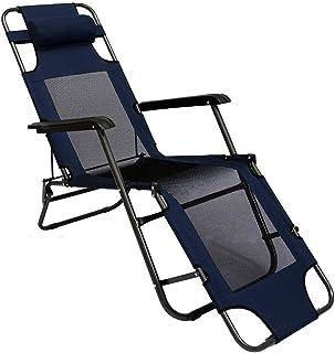 AMANKA Tumbona Plegable para Campamento Piscina | Silla Reclinable para Jardín con Reposacabezas | Color Azul Marino | Estructura de Acero | Peso máx soportado 100 kg | 178cm