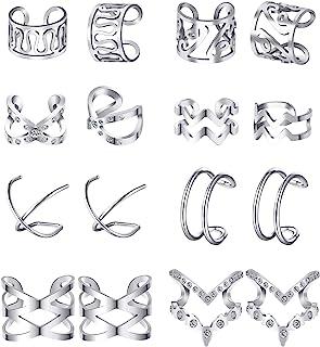 8 Paia Clip su Orecchini in Acciaio Inossidabile su Orecchini di Cartilagine per Uomini Donne