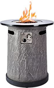 BAIDE HOME Fire Pit Table Round Outdoor Propane Gas Fire Pit with Natural Granite Stone Top 22 inch Fire Column & Auto-Ignition Heavy Duty Cover for Outside Patio