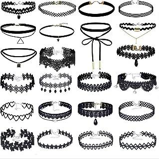 Lote de 23 gargantillas de terciopelo negro con colgantes de triángulo en aleación o cristal y encaje negro, efecto tatuaje, estilo gótico, para mujer
