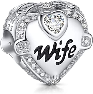 NINGAN I Love Wife Mum Sister Daughter Charms fit Pandora Charms Bracelets, 925 Sterling Silver Rose Gold Charm Bead for B...
