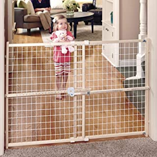 "Toddleroo by North States 50"" wide Quick Fit Wire Mesh Baby Gate: hassle free ratchet system for quick custom fit. Pressure mount. Fits 29.5""- 50"" wide (32"" tall, Sustainable Hardwood)"