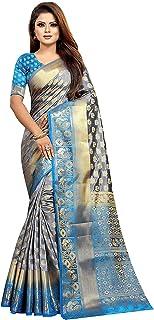 ساري نسائي رمادي Kanchipuram Art حرير نقي مع قطعة بلوزة