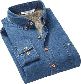 Gihuo Men's Casual Sherpa Lined Button Down Long Sleeve Regular-Fit Denim Shirt