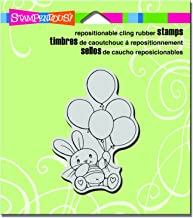 "Stampendous CRV318 Balloon Bunny Cling Stamp, 3.5"" by 4"", Grey"