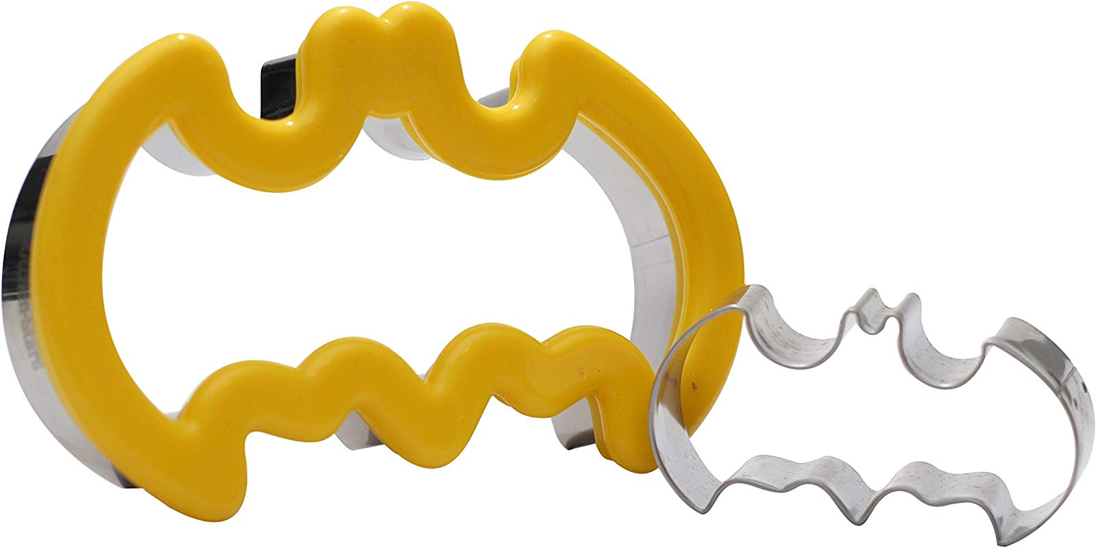 Batman LOGO Cookie Cutter Set Large Cookie Cutter Stainless Steel Metal With Silicone Comfort Grip And FREE Small SS Cupcake Mini Cutter For Kids And Adults By Kitchen Stars