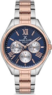 Daniel Klein Exclusive Ladies - Blue Dial Multicolor Band Watch - DK.1.12523-5, ips/ip pink r.gold