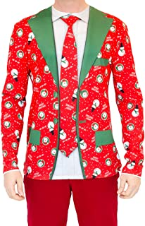 Faux Real Men's Faux Red Christmas Suit and Tie Photorealistic Long-Sleeve T-Shirt