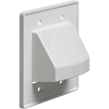 White Mounting Screw Included InstallerParts 2-Gang Recessed Low Voltage Cable Plate